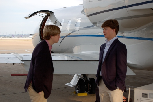 My son's Val and Bridger, getting ready for the flight.
