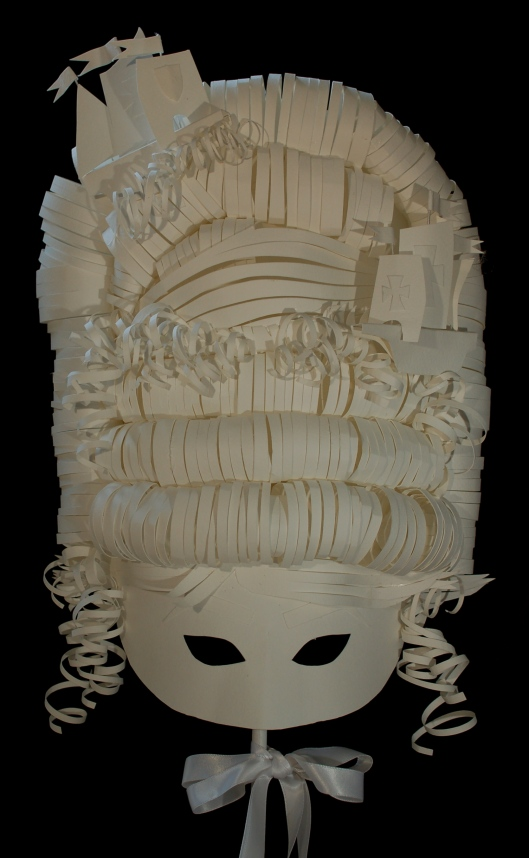 Paper mask of Marie Antoinette made by artist Kaki Valerius Smith.