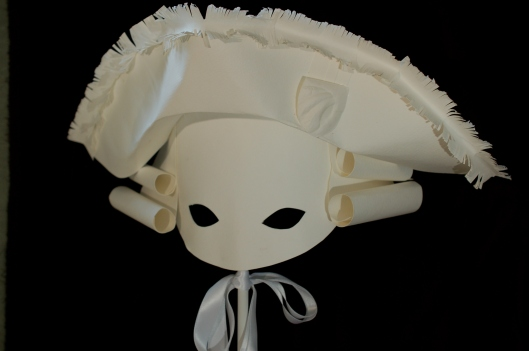 Louis XVI paper mask by artist, Kaki Valerius Smith.