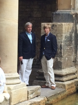 Dashing gentlemen at the Roman Baths in Bath, England. July 2014.