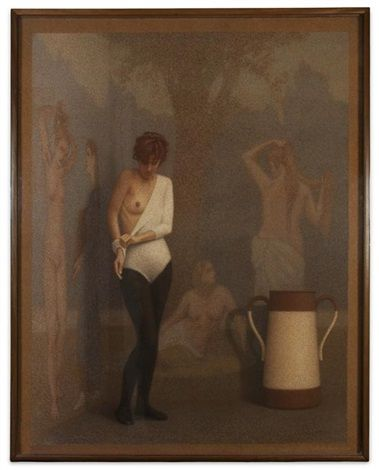 "Best Little Known (Master of Tomorrow) Artist: David Hollowell. Woman Dressing, 90""X 69"", Pastel on Paper, 1987. http://hollowell.ucdavis.edu/"